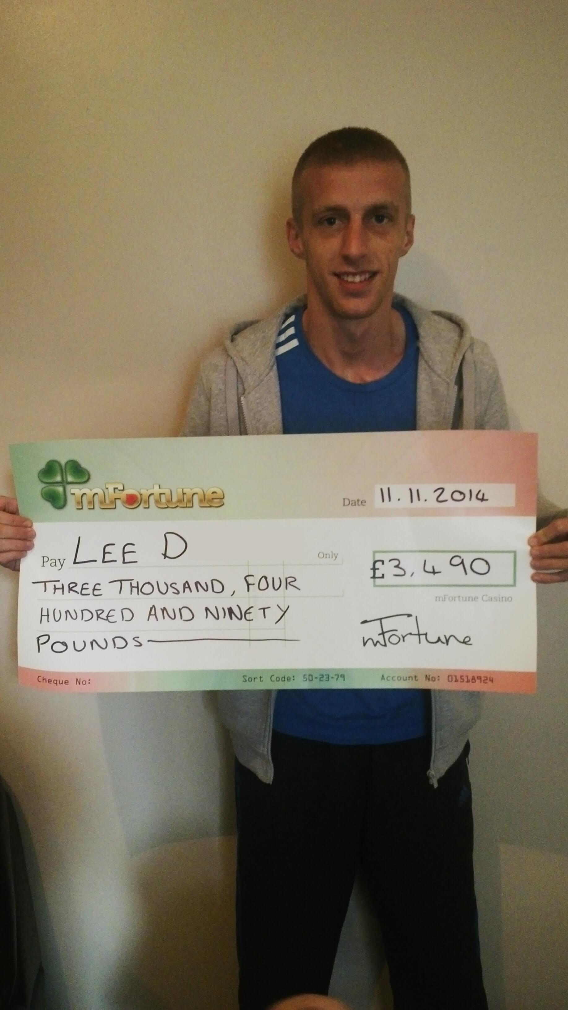 Lee D won £ 3,490