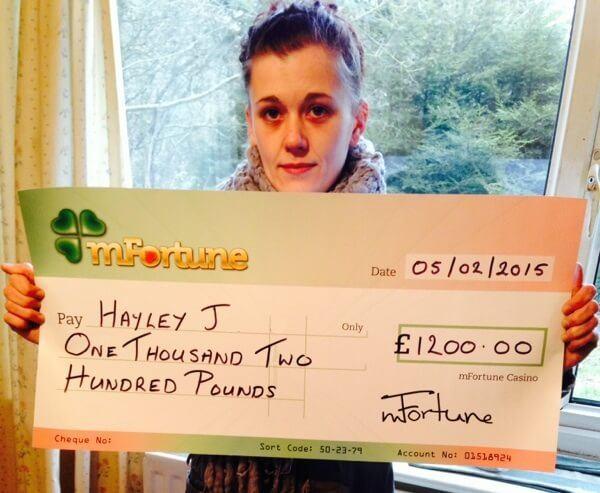 Hayley J won £ 1,200