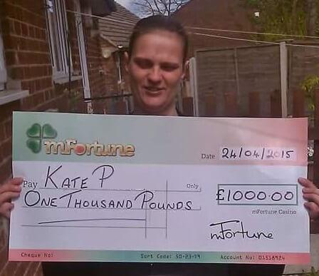 Kate P won £ 1,000