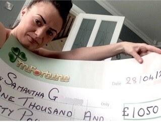 Samantha G won £ 1,050