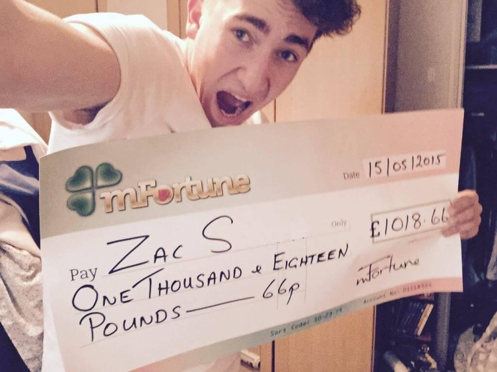 Zach S won £ 1,018