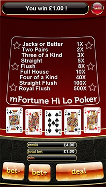 mFortune Hi-Lo Poker Screenshot 2