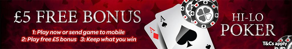 mFortune Hi-Lo Poker £5 Free bonus