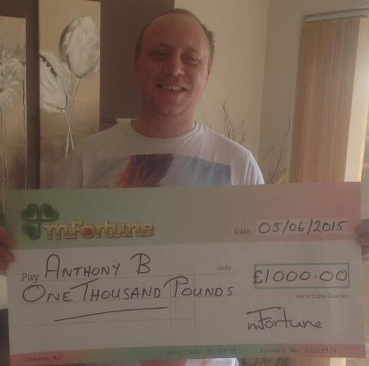 Anthony B won £ 1,000