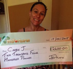 Carrie J won £ 2,400
