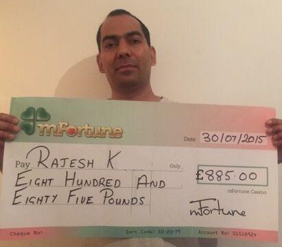 Rajesh K won £ 885