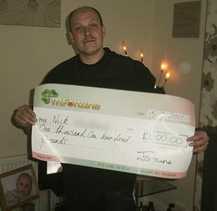 Nick W won £ 1,100