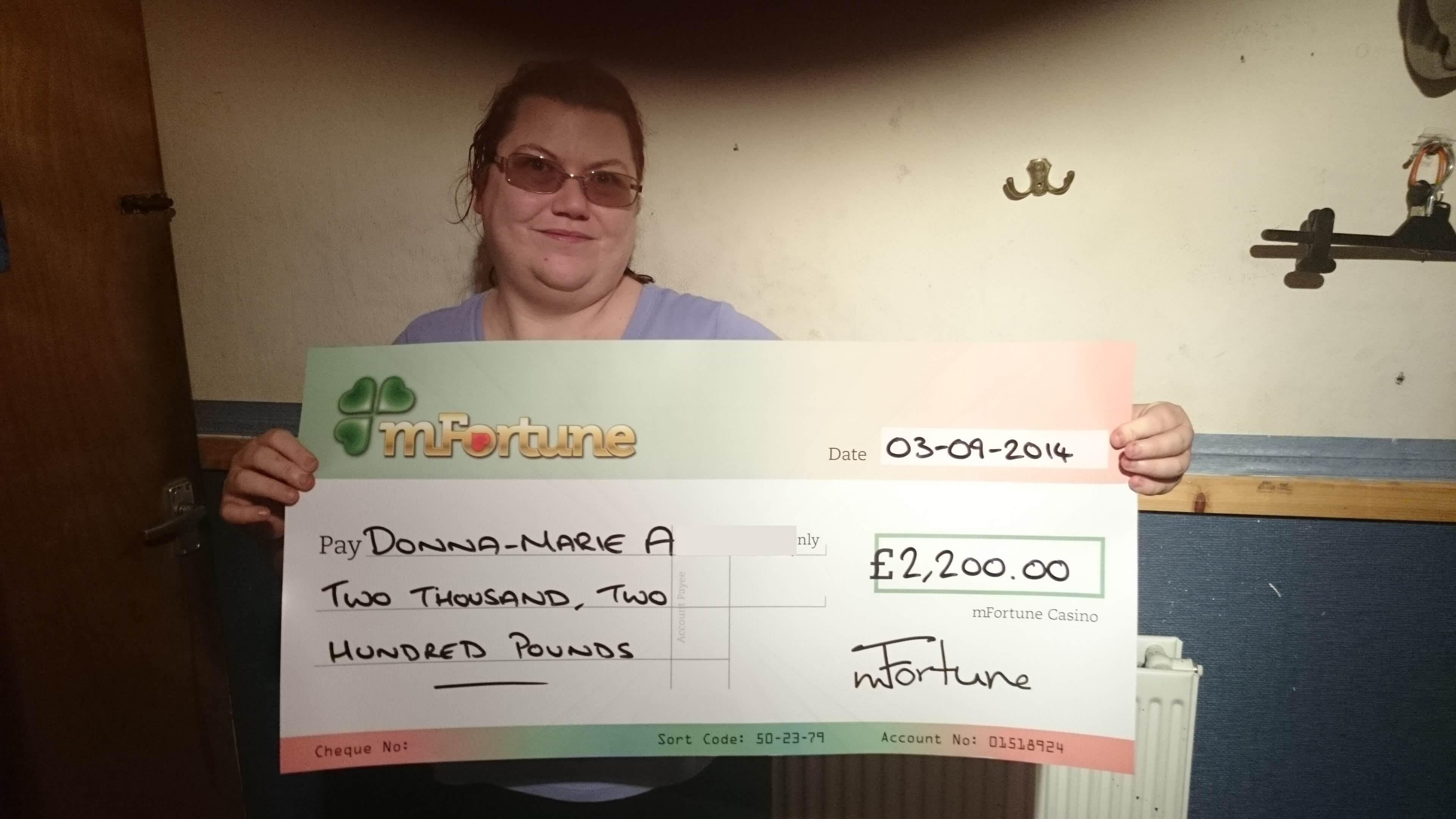 Donna A won £ 2,200