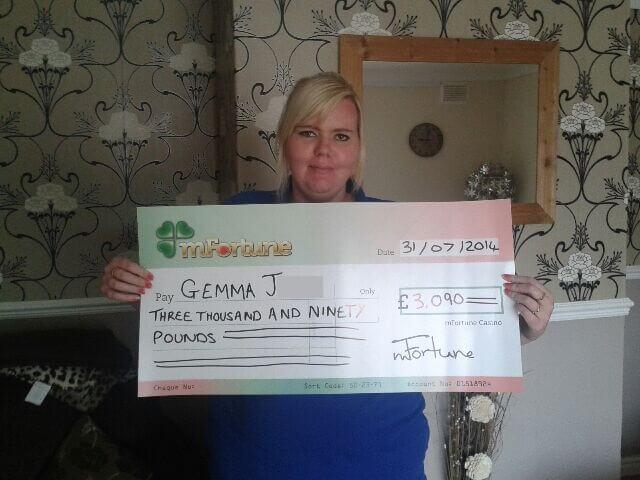 Gemma J won £ 3,090