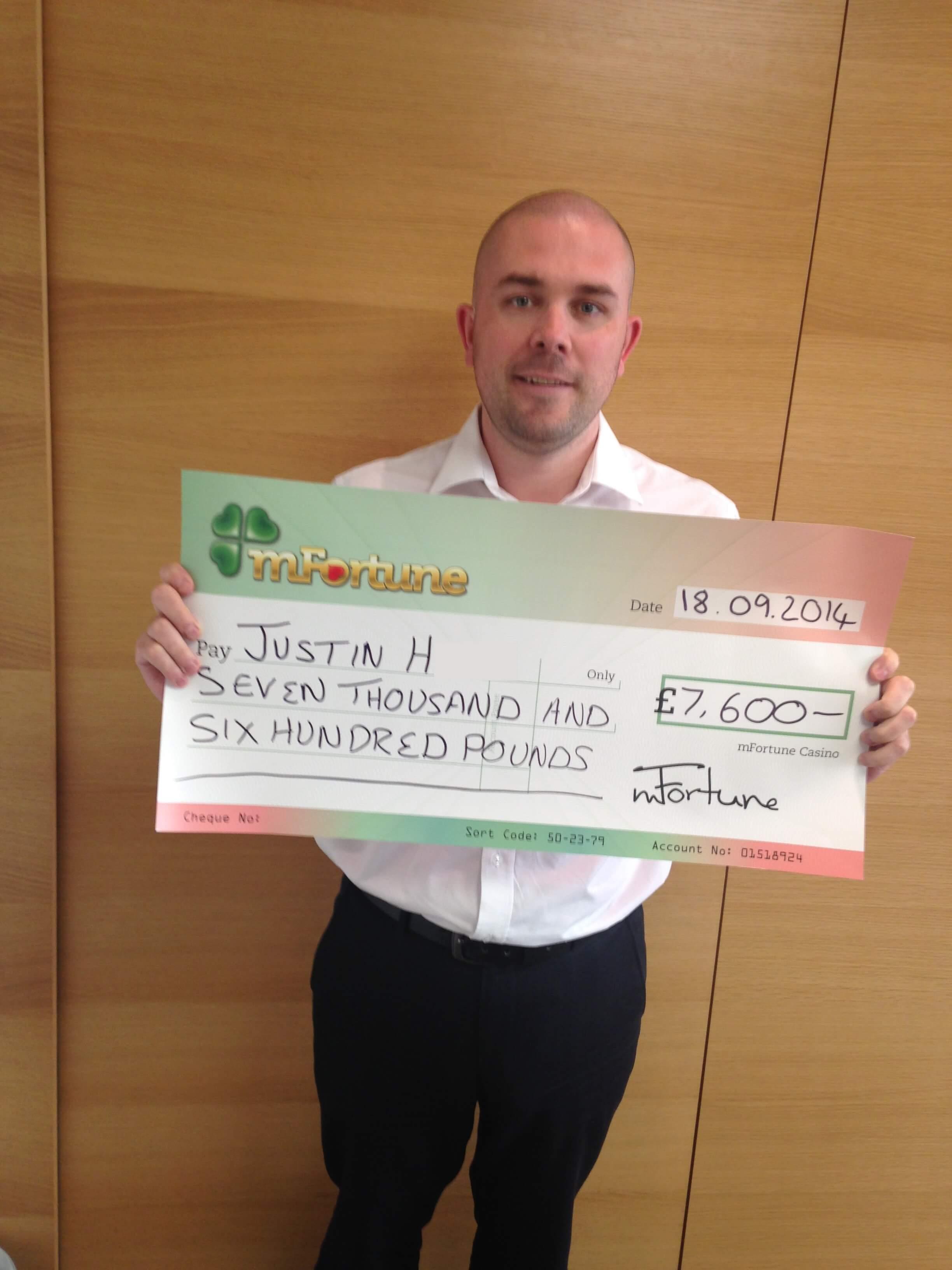 Justin H won £ 7,600