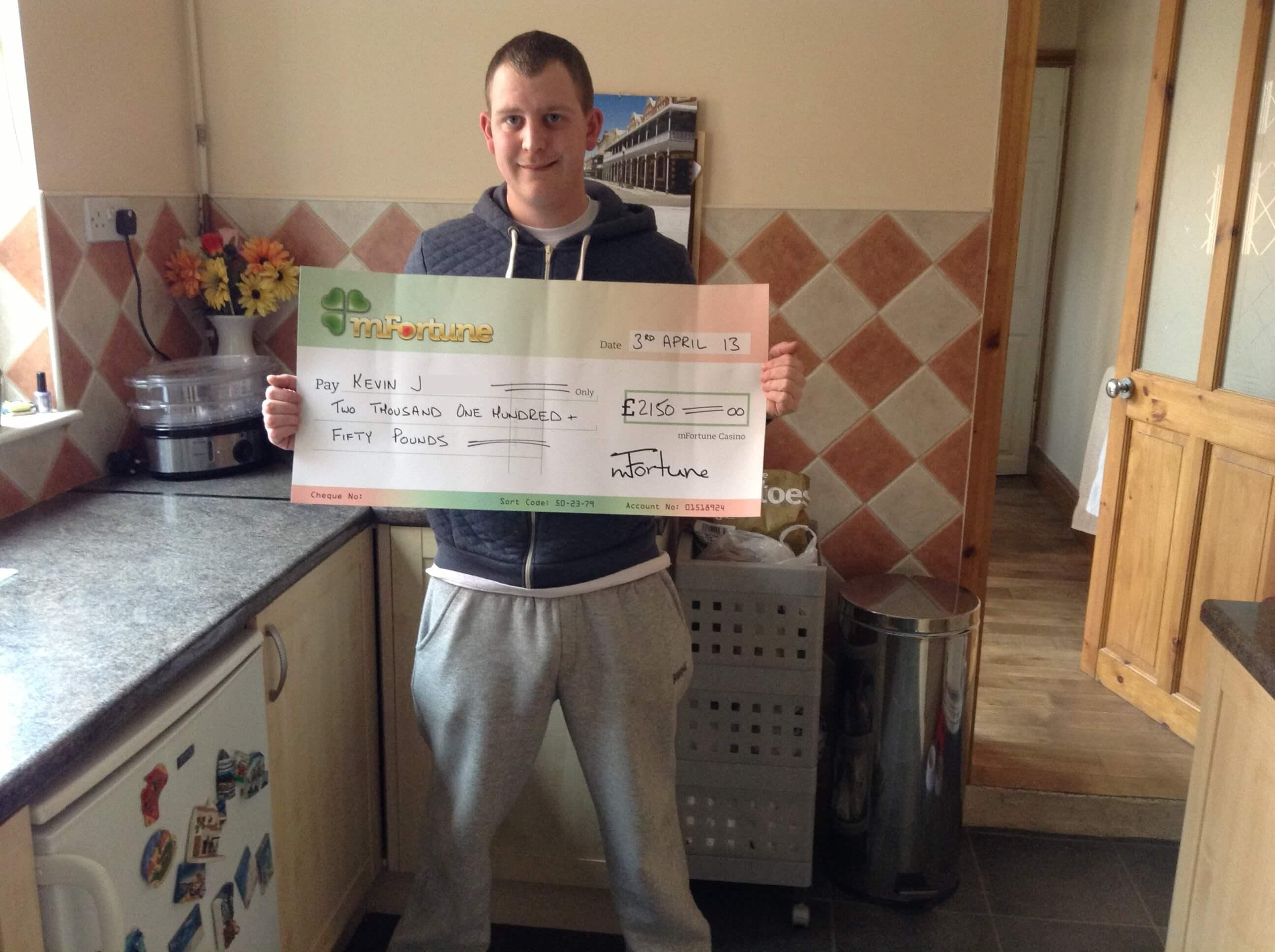 Kevin J won £ 2,150