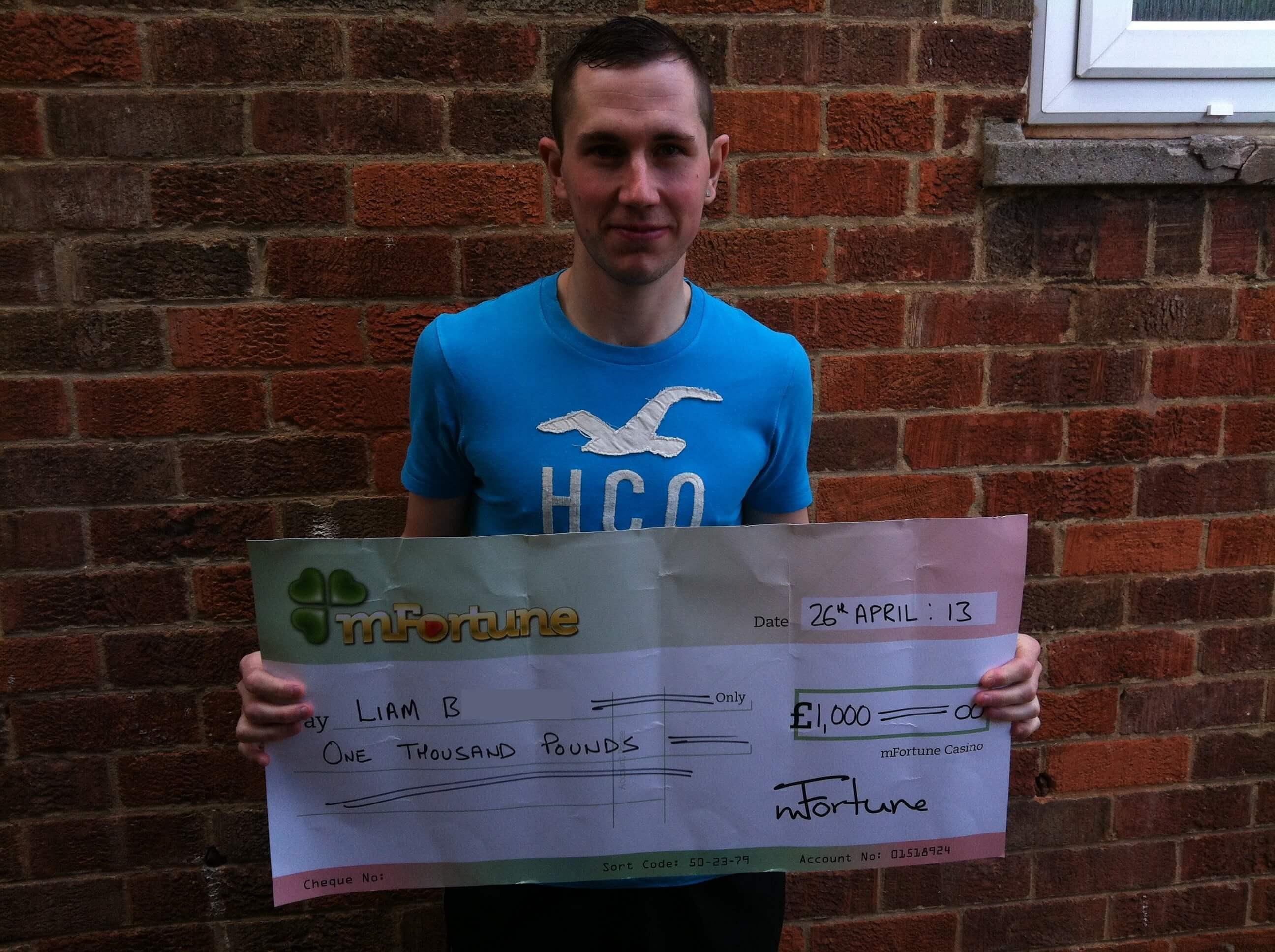 Liam B won £ 1,000