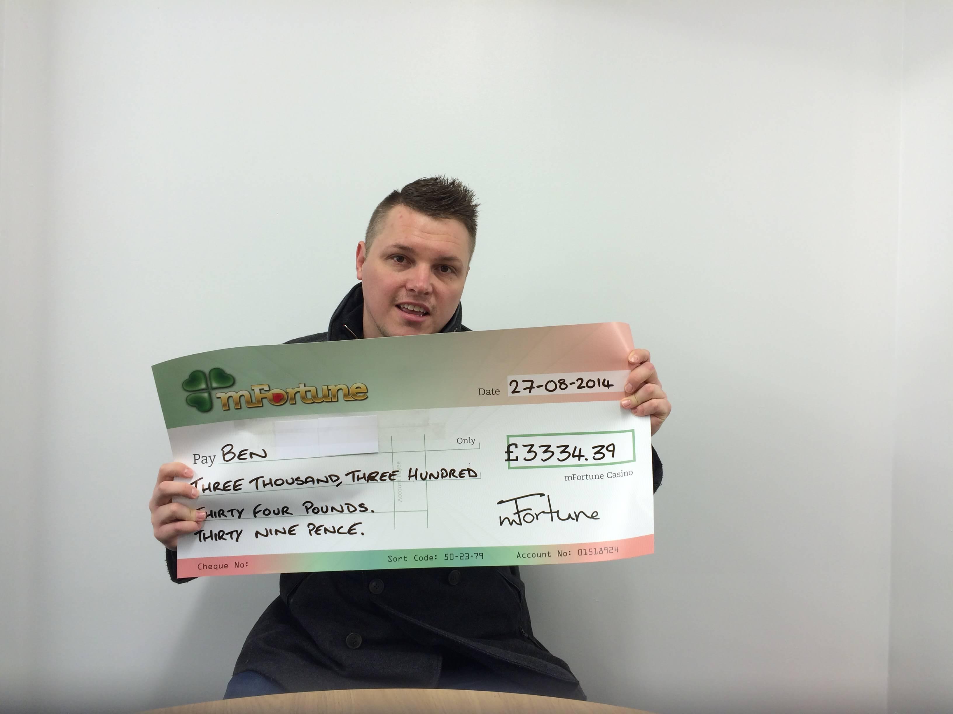 Ben T won £ 3,334
