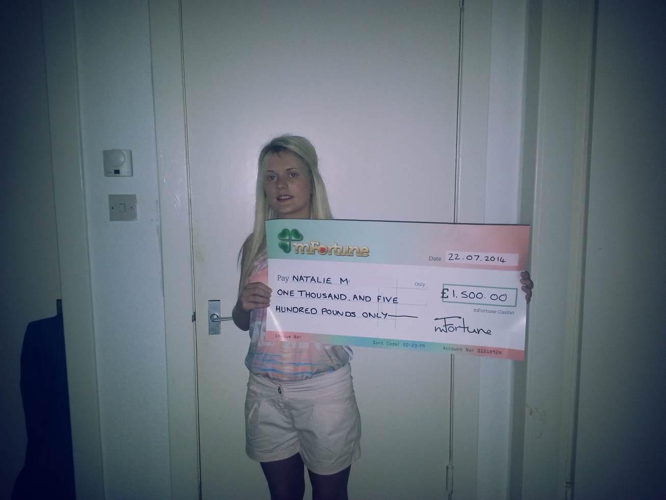 Natalie M won £ 1,500