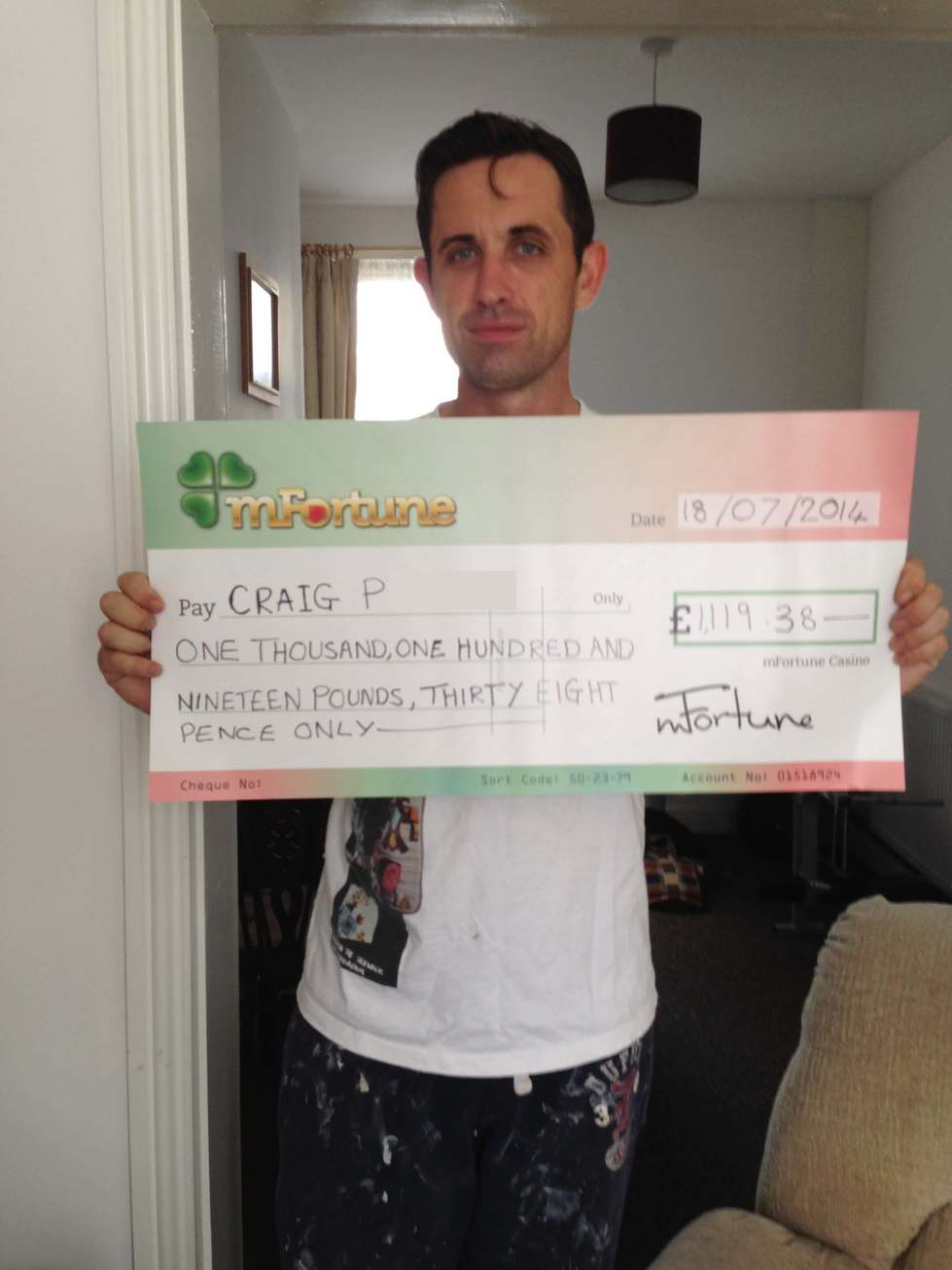 Craig Provan won £ 1,119