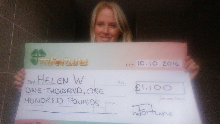 Helen W won £ 1,100